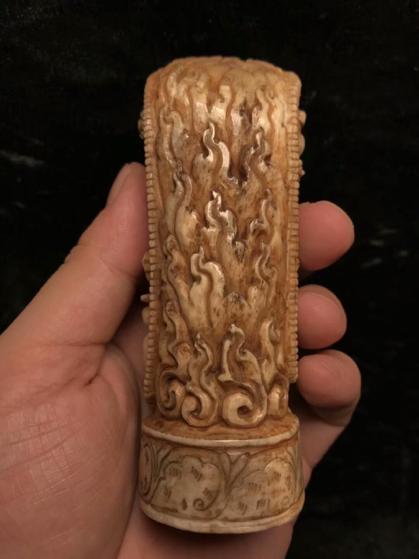 A Nice Tibetan Old Ox Bone Carving - 8