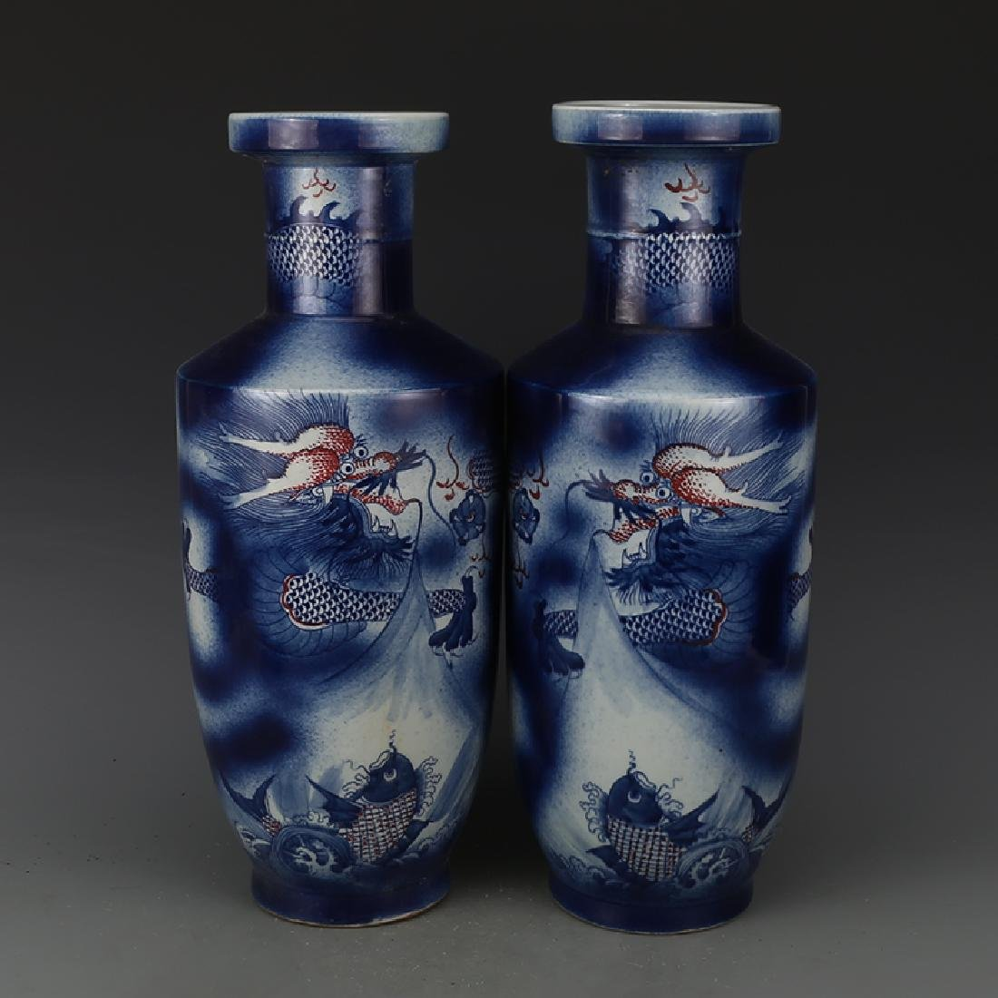 One Pair Qing Blue and White Under Red Dragon Bottles