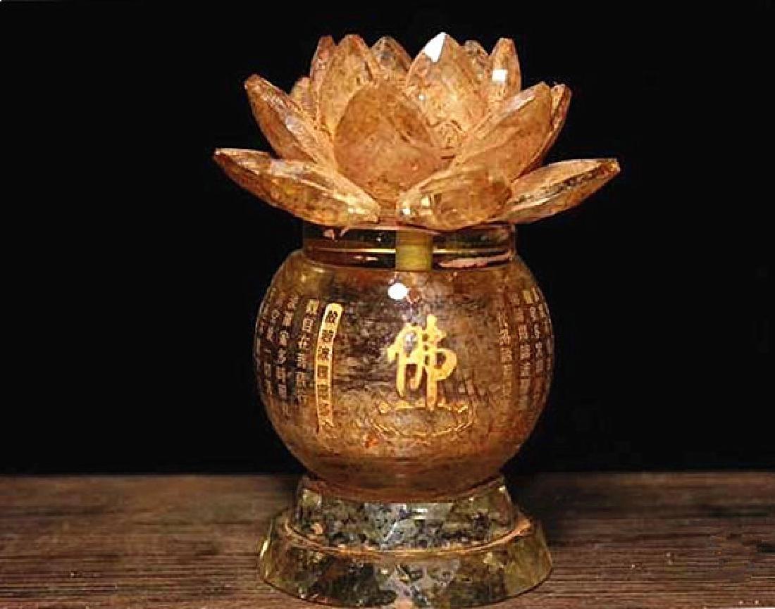 A Nice Crystal lotus sarira jar