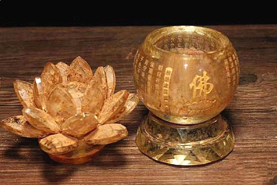 A Nice Crystal lotus sarira jar - 4