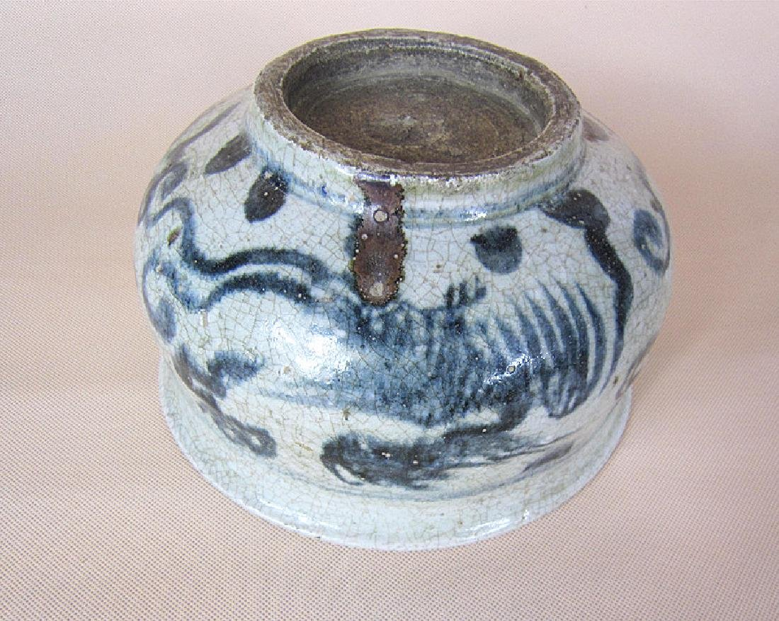 A Big Ming Blue and White Pheonix Incense Burner - 2