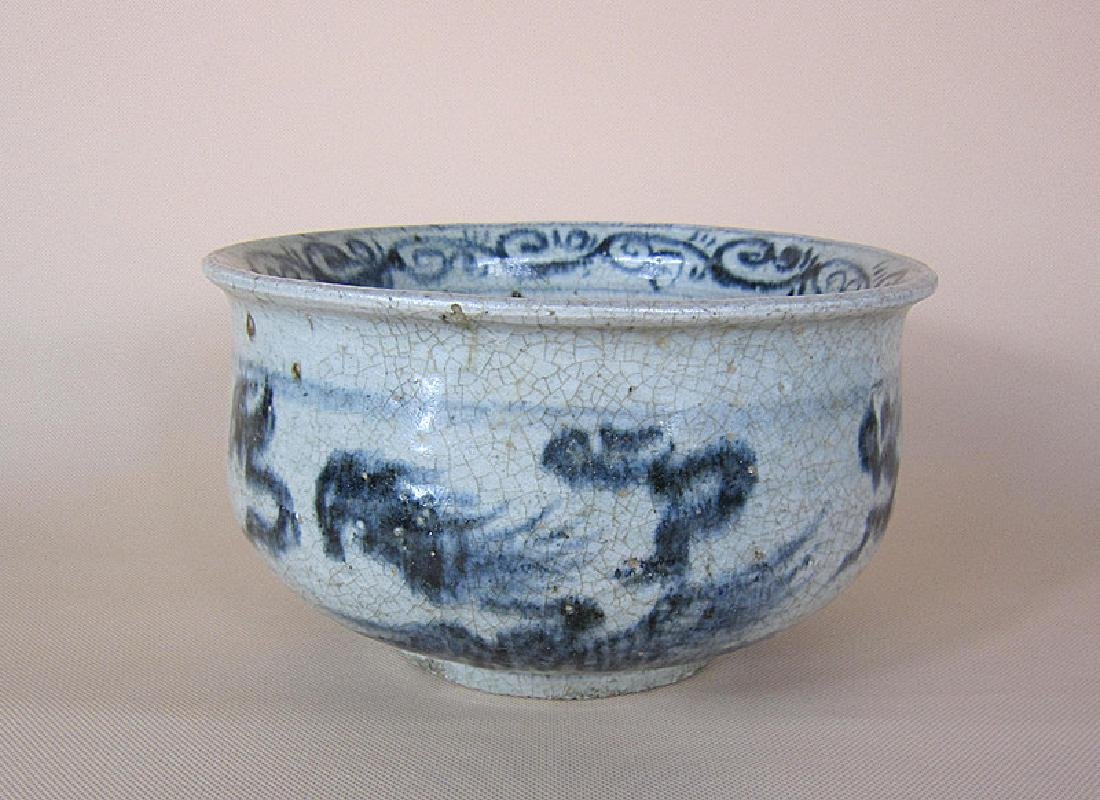 A Big Ming Blue and White Pheonix Incense Burner - 3