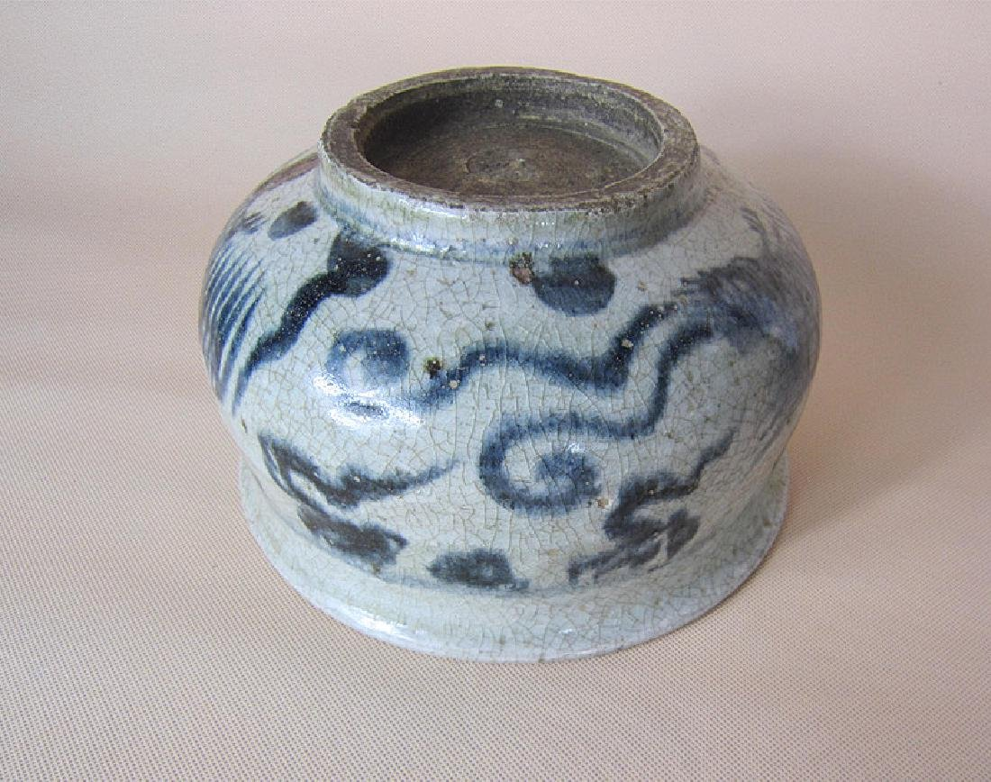 A Big Ming Blue and White Pheonix Incense Burner - 7