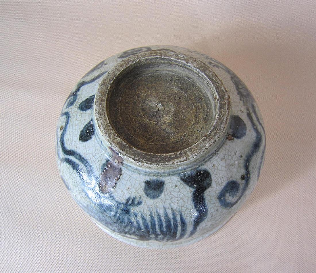 A Big Ming Blue and White Pheonix Incense Burner - 9