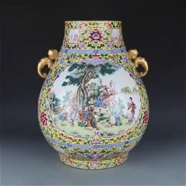 Large Qing Dynasty Luxury Gilt Enamel Colour Porcelain