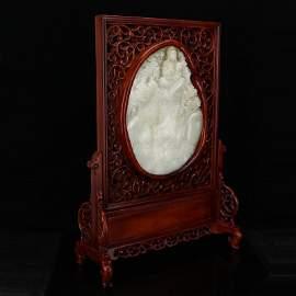 One Big Hetian White Jade and Tanmu Wood Table Screen