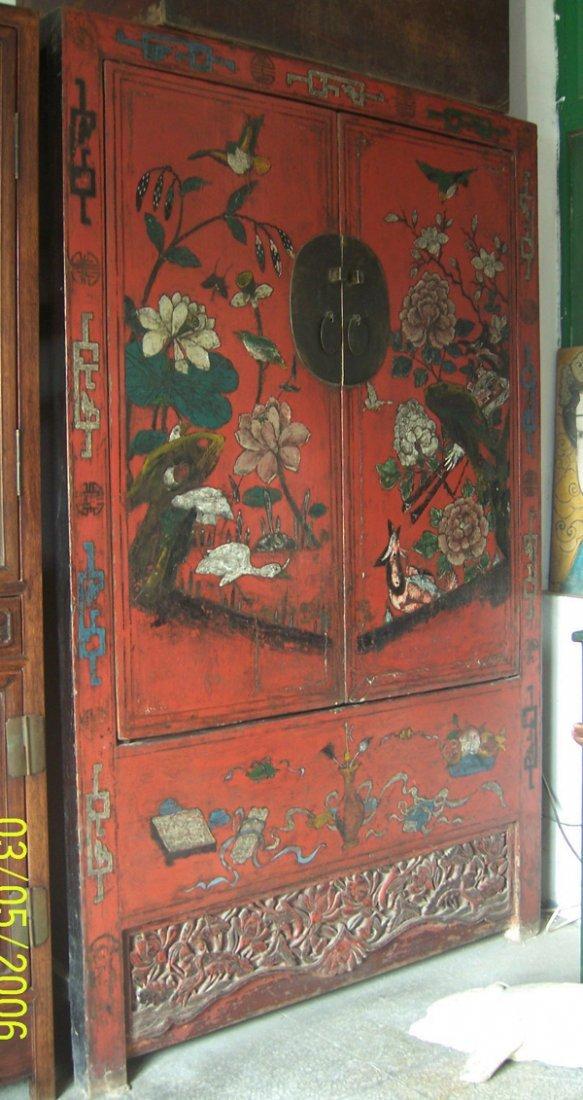 11: Antique red coloureful big cabinet