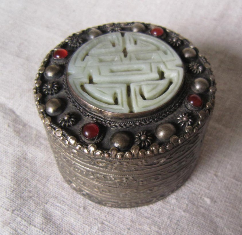 Antique Silver Box With Jade inlaid