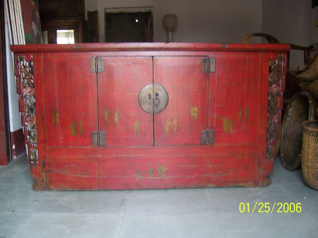 Great Old Big Cabinet With Red Lacquer, Gold Paintin