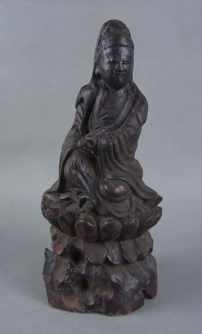 Qing Dynasty Wooden Guanyin Figure