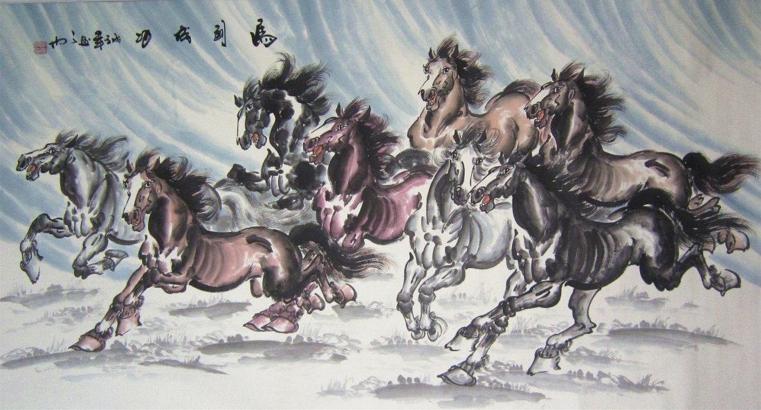 Large Chinese Painting Eight Horses by Famous Artist