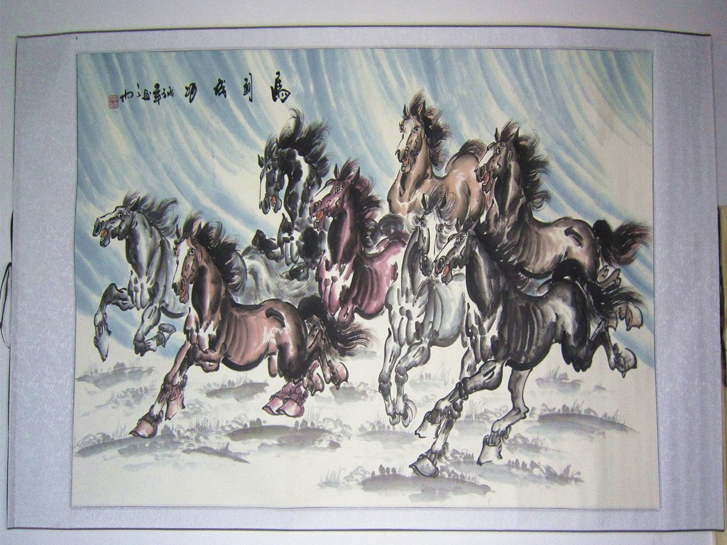 Large Chinese Painting Eight Horses by Famous Artist - 2