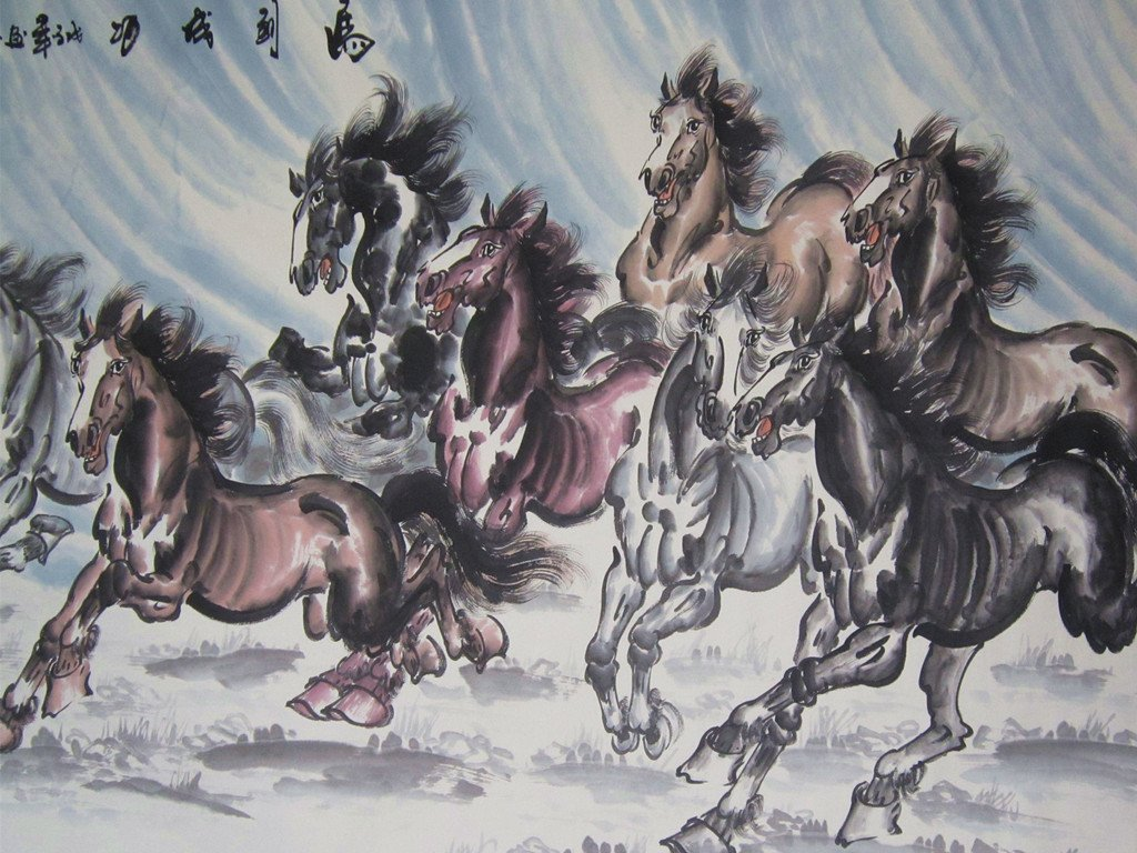 Large Chinese Painting Eight Horses by Famous Artist - 4