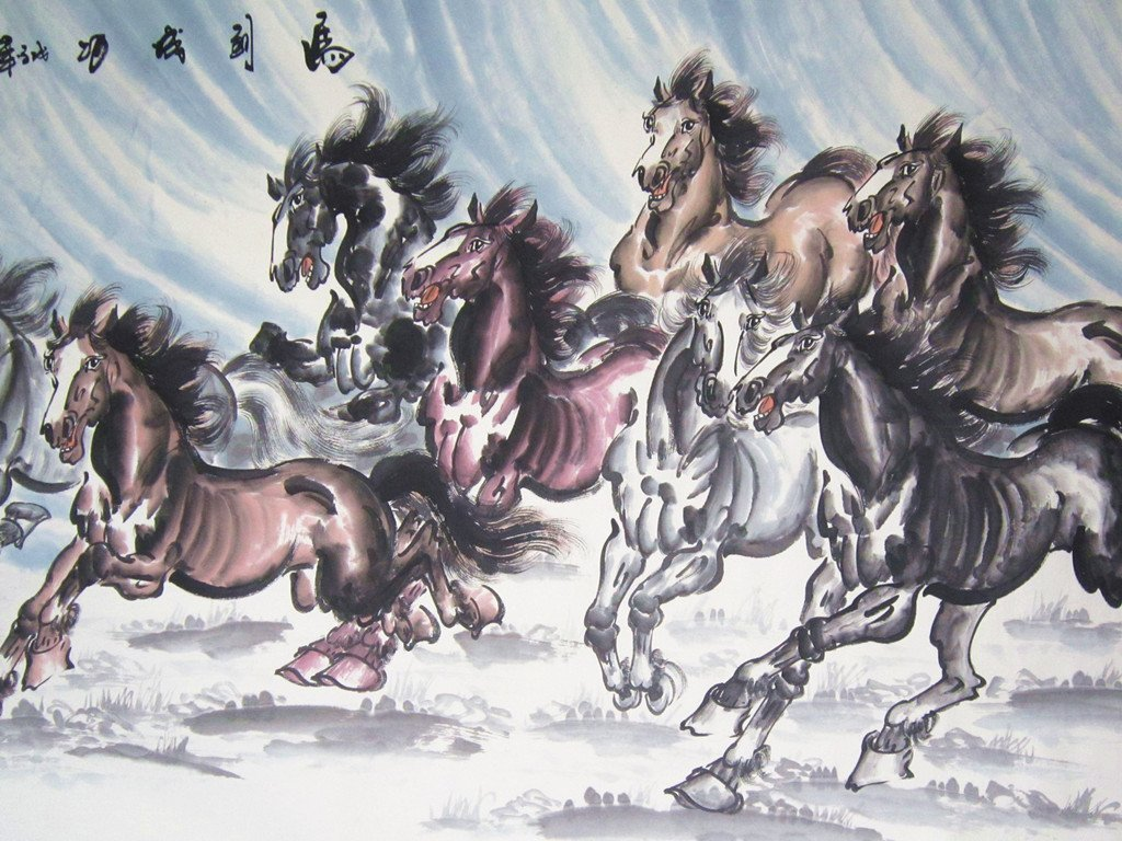 Large Chinese Painting Eight Horses by Famous Artist - 5