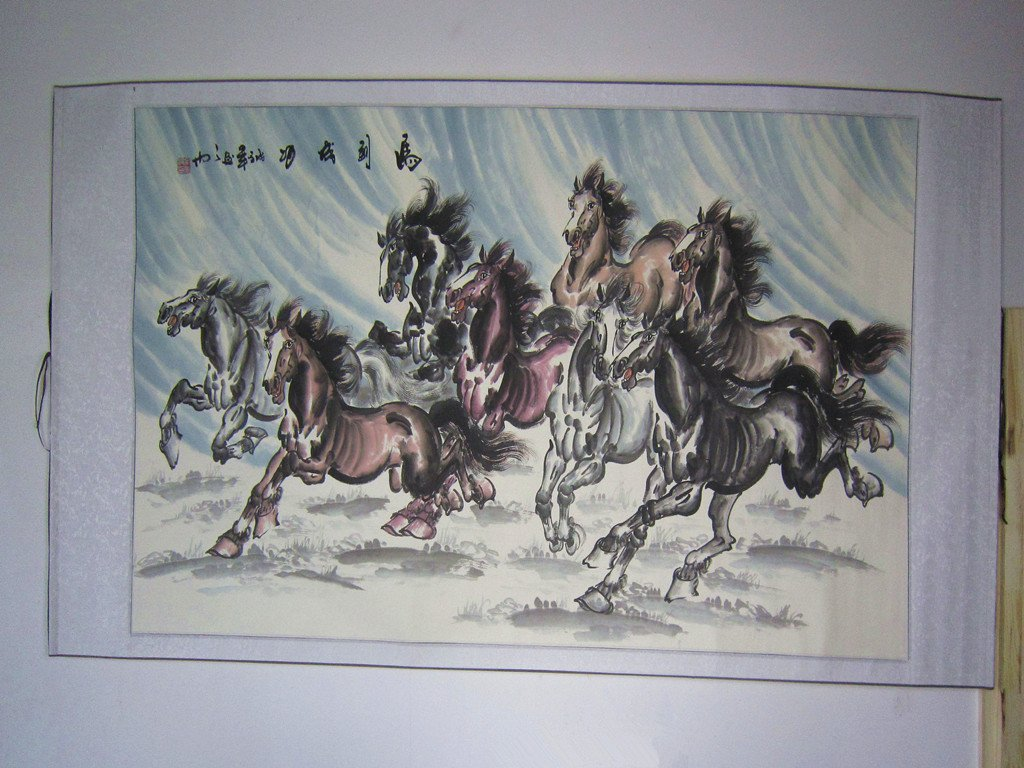 Large Chinese Painting Eight Horses by Famous Artist - 6