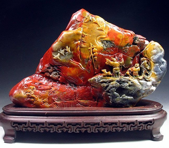 A Rare Fine Shoushan Colourful Duling Stone Carving