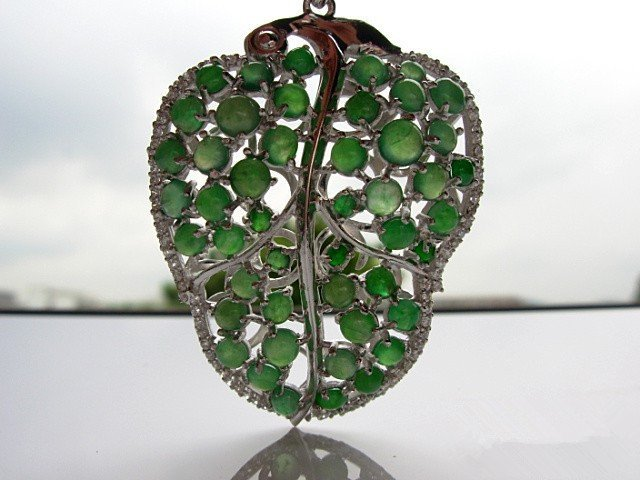 Nature Jadeite and 925 Silver Pendant With Certificate - 5