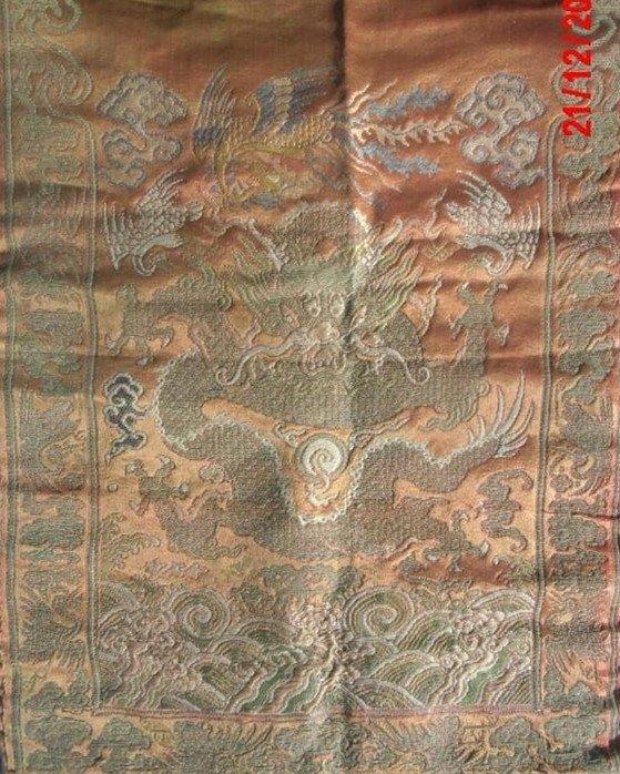 Qing Dynasty Colourful Brocade  Dragon Mirror Curtain