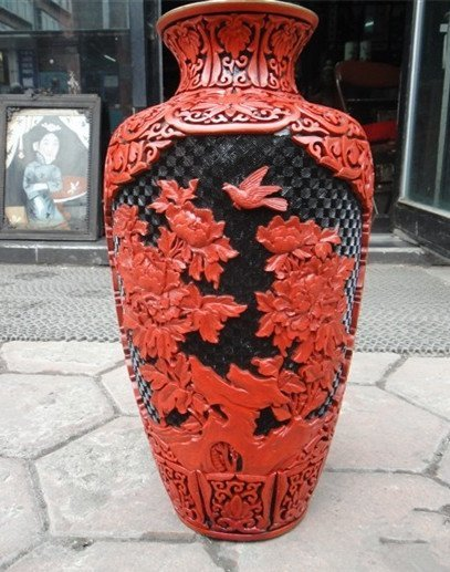 A Nice Big Carved Lacquerware Bottle