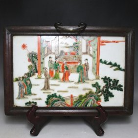 A Nice Chinese Wucai Porcelain Panel Painting