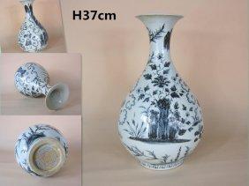 A Big Ming Blue And White Porcelain Yuhuchun Bottle