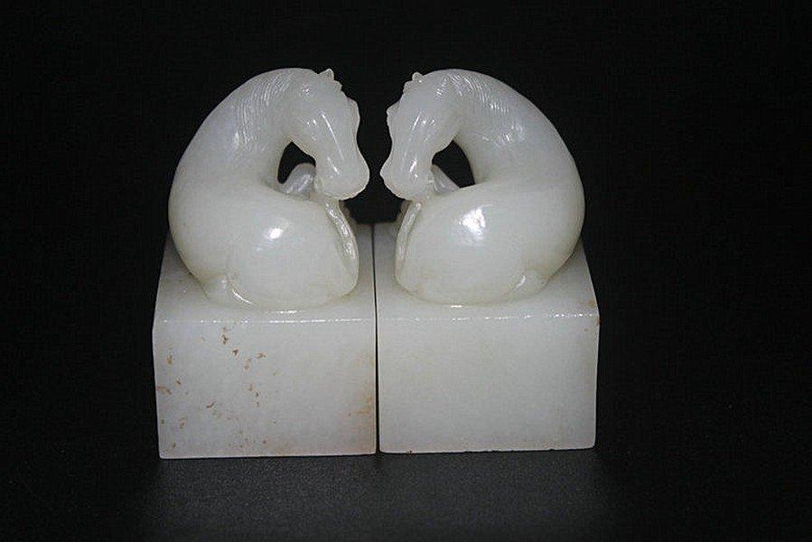 One Pair Old Hetian White Jade Horse Seals