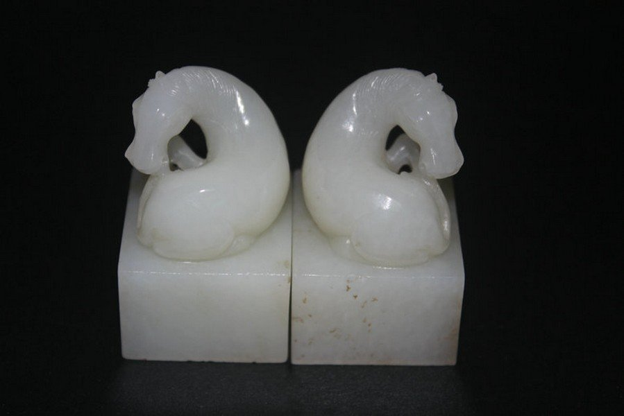 One Pair Old Hetian White Jade Horse Seals - 2