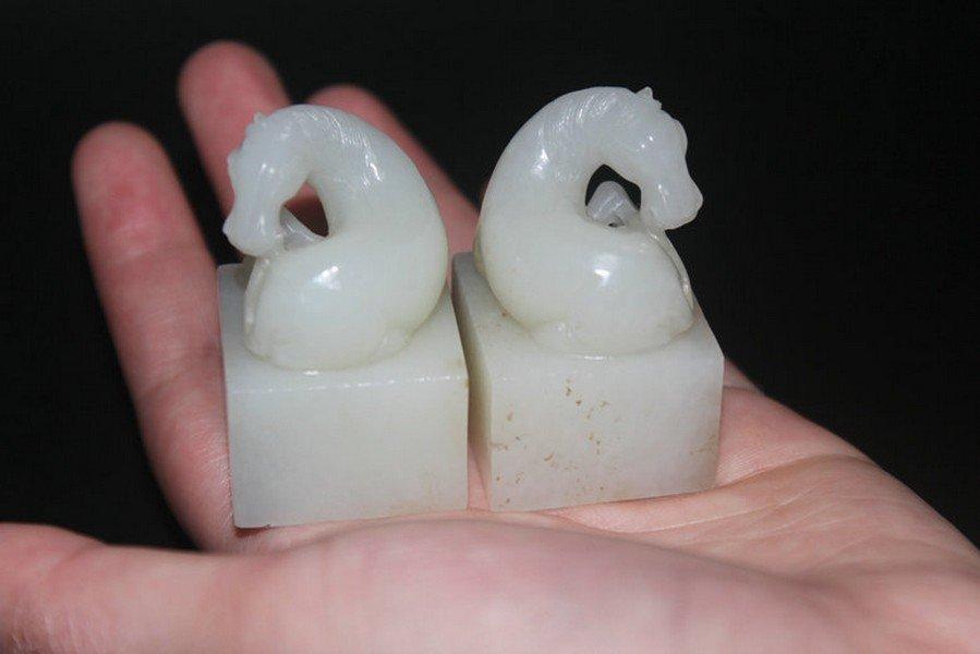 One Pair Old Hetian White Jade Horse Seals - 4