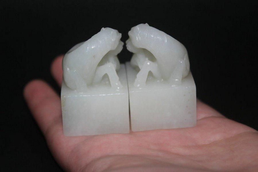 One Pair Old Hetian White Jade Horse Seals - 5