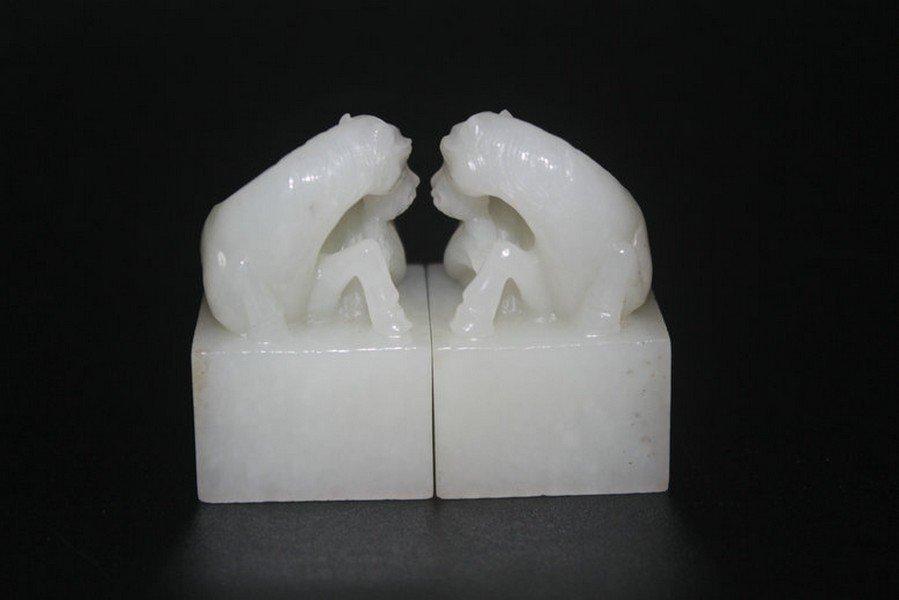 One Pair Old Hetian White Jade Horse Seals - 8
