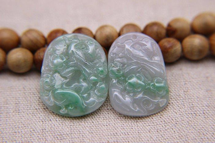 Two Nice Qing Dynasty Nature Jadeite Pendants