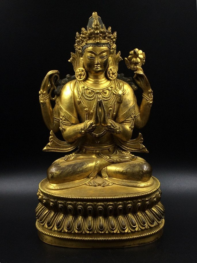 A Nice Old Gilt Bronze Four Arms Guanyin Statue