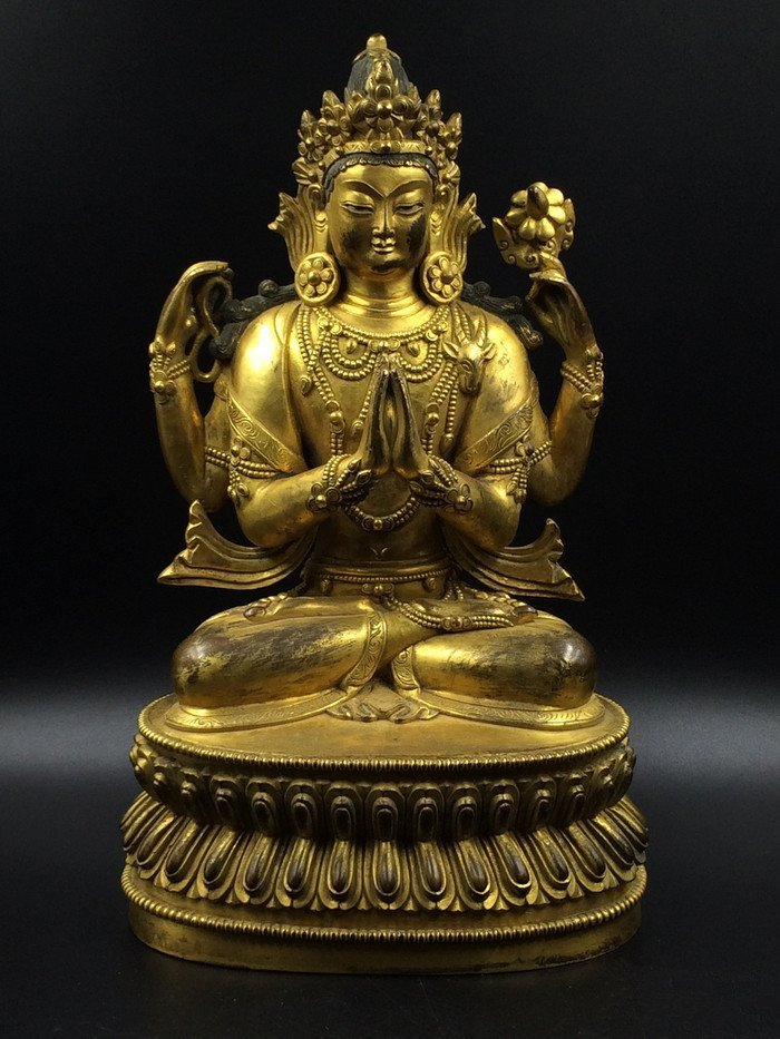 A Nice Old Gilt Bronze Four Arms Guanyin Statue - 2
