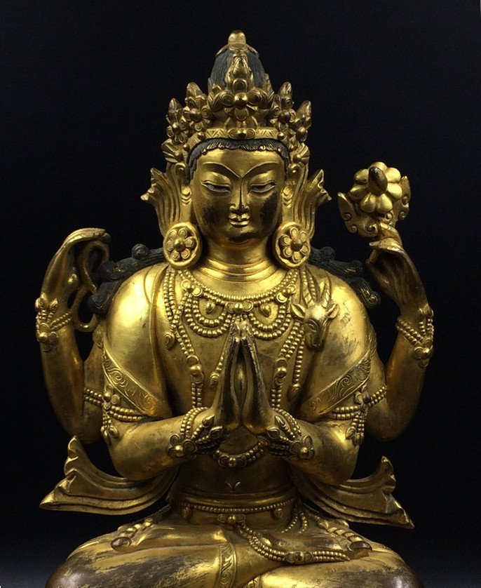 A Nice Old Gilt Bronze Four Arms Guanyin Statue - 3