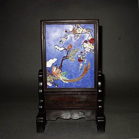 A Nice Red Wood Lapis Inlaid Gems Table Screen