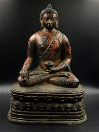 A Nice Old Gold Laquer Bronze Buddha Statue