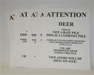 """Lot of 10 """"Attention Deer"""" posters"""