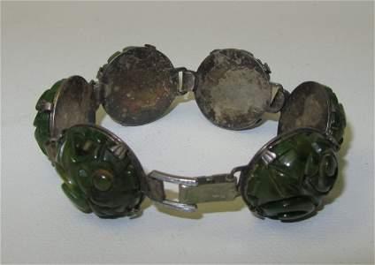 17: Vintage Jade and Silver Bracelet