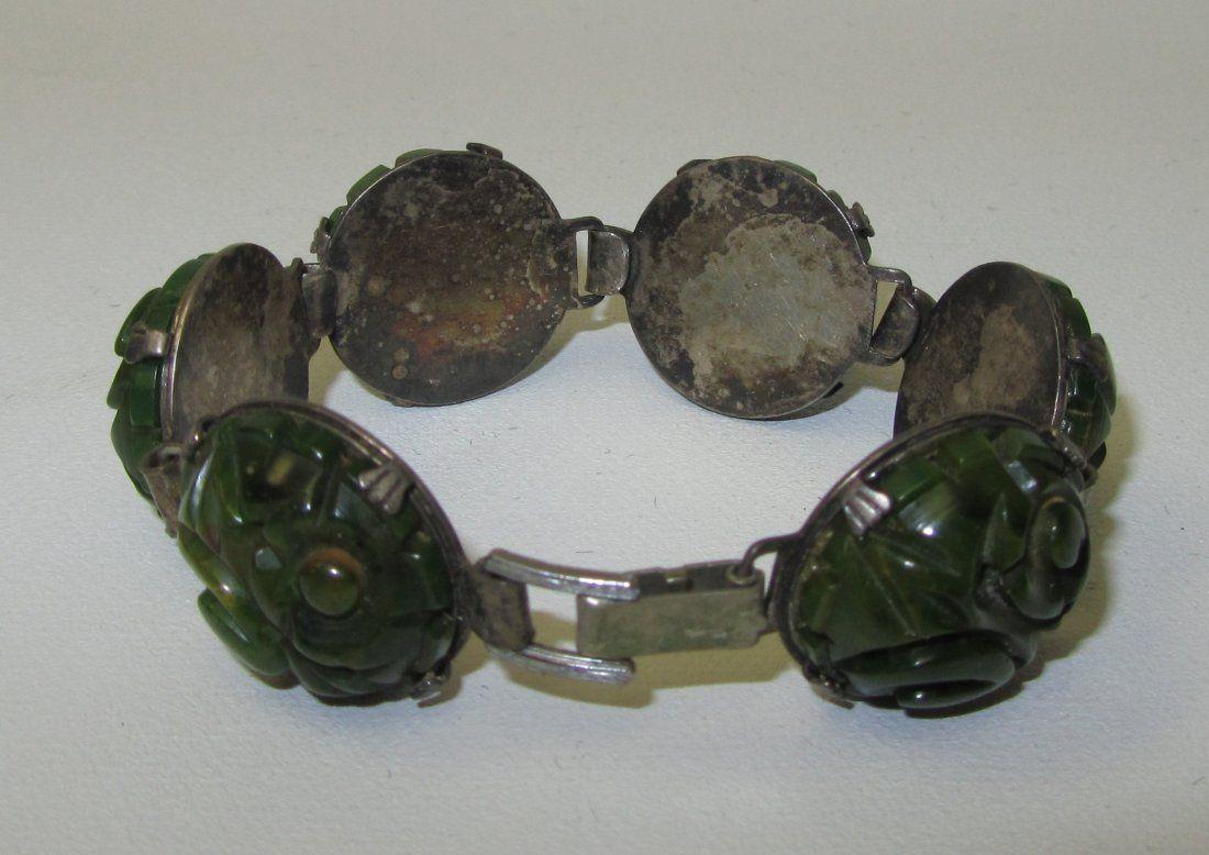 Vintage Jade and Silver Bracelet