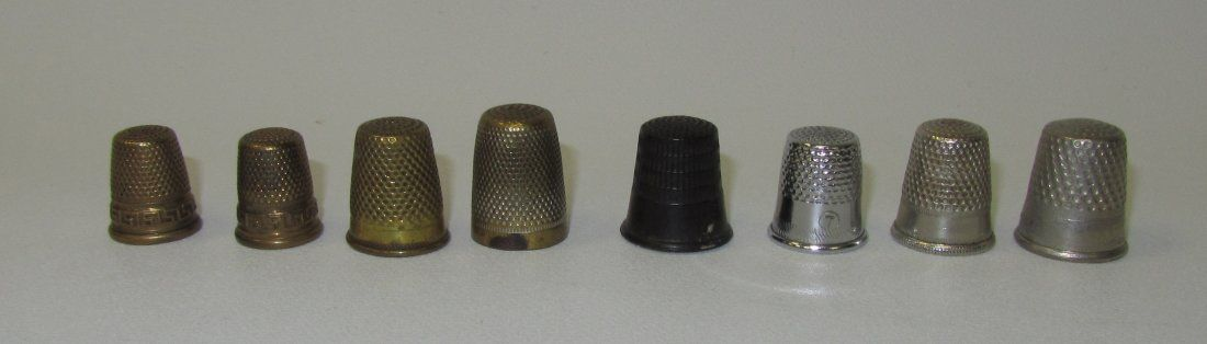 Lot of 8 Various Metal, Vintage Thimbles