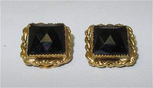 Pair of Freirick Non Pierced Earrings, Black Onyx