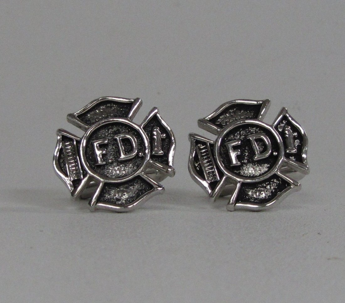 Pair of Fire Department Cuff Links by Swank