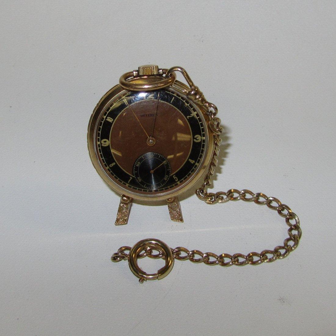 Helbros Gold Filled Pocket Watch & FOB