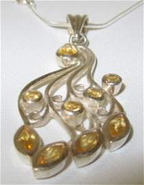 Brazilian Topaz Gem Set Silver Pendant & Chain