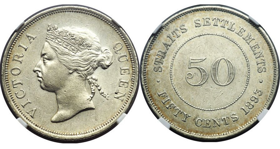 Straits Settlements 1893, 50cents coin