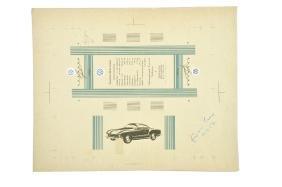 Andruckmuster fuer Karmann-Ghia-Karton (1957)