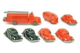 Konvolut 7 unverglaste Einsatzwagen