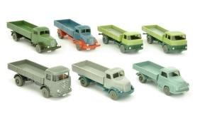Konvolut 7 Pritschen-LKW der 60er Jahre