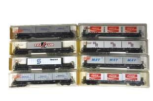Konvolut 8 LiliputWaggons mit Containern