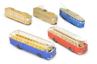 Konvolut 5 BusseStrassenbahnen der 50er Jahre